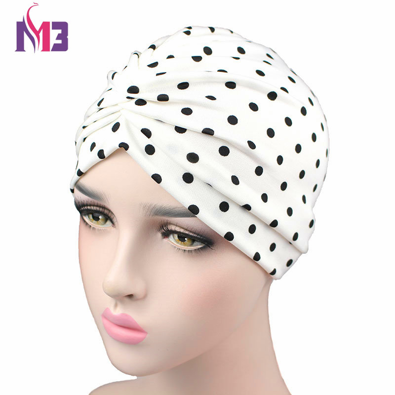 New Women Fashion Silky Stretchy Turban Dot Print Turban Hat Bonnet   Headwear   Turban Headband Hijab Hair Accessories
