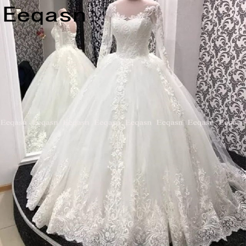Robe De Mariee Luxury Muslim Wedding Dress Lace Long Sleeve Corset Vintage White Arabic Bride Dress 2020 Plus Size