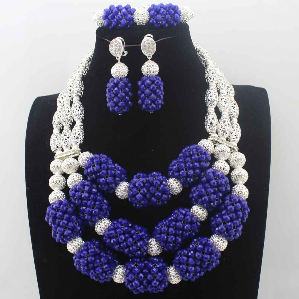 Royal Blue 2017 Nigerian wedding african beads jewelry sets for brides Crystal Necklace Big Dubai fashion jewelry sets  W13691Royal Blue 2017 Nigerian wedding african beads jewelry sets for brides Crystal Necklace Big Dubai fashion jewelry sets  W13691