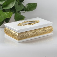 New package of high grade silver gold Hollow wood paper box Silver plated paper towel cylinder Napkin box Alloy carton