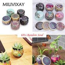 MILIVIXAY 6 шт. в богемном стиле ретро круглая жестяная коробка для чая, конфет, ювелирная монета, контейнер для хранения, чехол, сделай сам, баночки для изготовления свечей