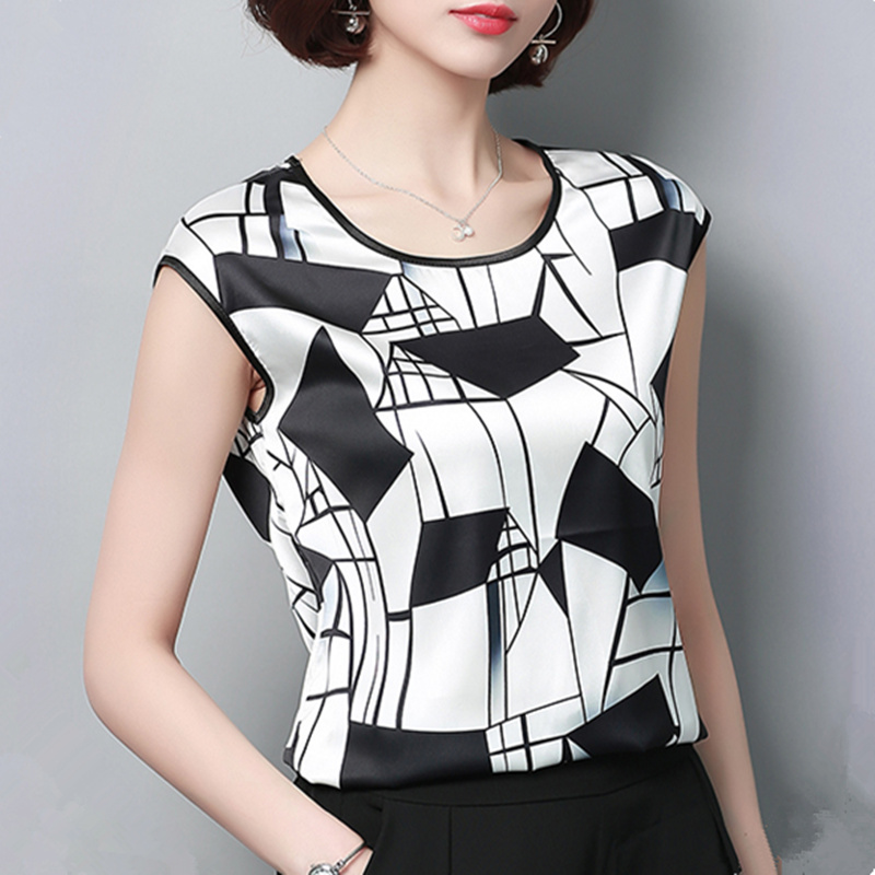 2018 Womens Tops and Blouses Short Sleeve Chiffon Blouse Summer Ladies Print Shirts