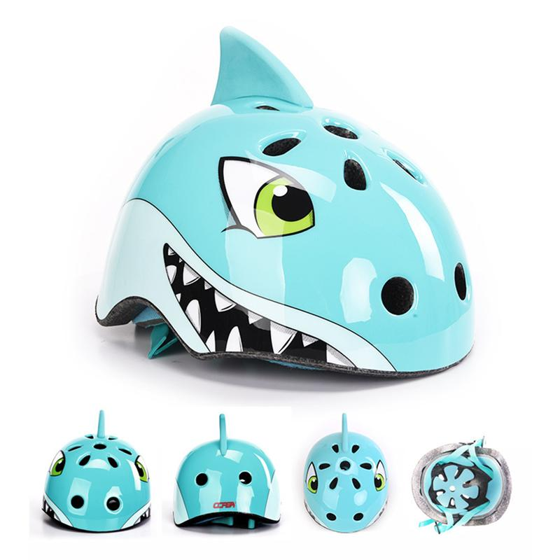 9223e6b09 Crianças Capacete Crianças Capacete Dos Esportes Da Bicicleta Da Bicicleta  3D Tubarão Dos Desenhos Animados Capacetes