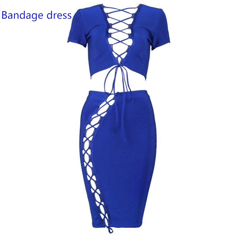 2017 2 two piece set Celebrity Runway Bandage Dress Blue Red Cross Hollow out short sleeve women party Dresses summer LB-M261