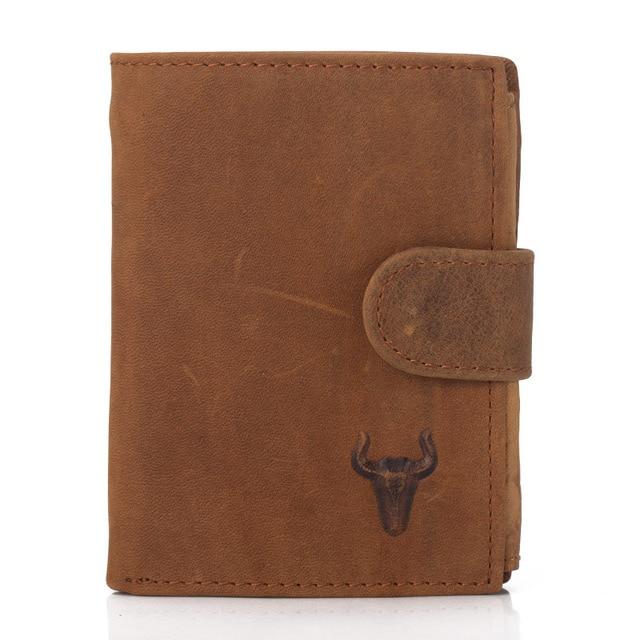 Wallet Men Leather Genuine Men's Bulls Man Vintage Grazy Horse Cowhide Leather Big Capacity Short Purse With Zipper Coin Pocket