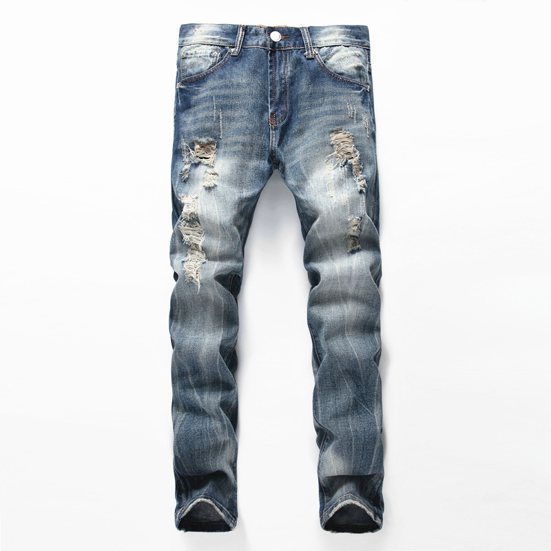 NEW Jeans Men Ripped Jeans Fashion Brand Rap mens Moto Classic Biker Jeans Hole Denim Straight Slim Fit Casual Pants 2017 fashion mens jeans straight denim biker jeans men trousers new famous brand superably jeans skull ripped pants u292