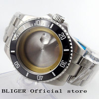 BLIGER 43MM Solid Stainless Steel Black Ceramic Bezel Watch Case Sapphire Glass Fit For ETA 2836 Automatic Movement C54