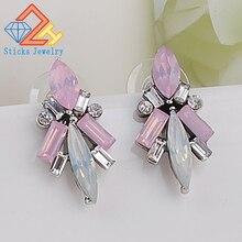 купить Crystal Resin Flower Rhinestone Flower Stud Earrings for Women Jewelry дешево