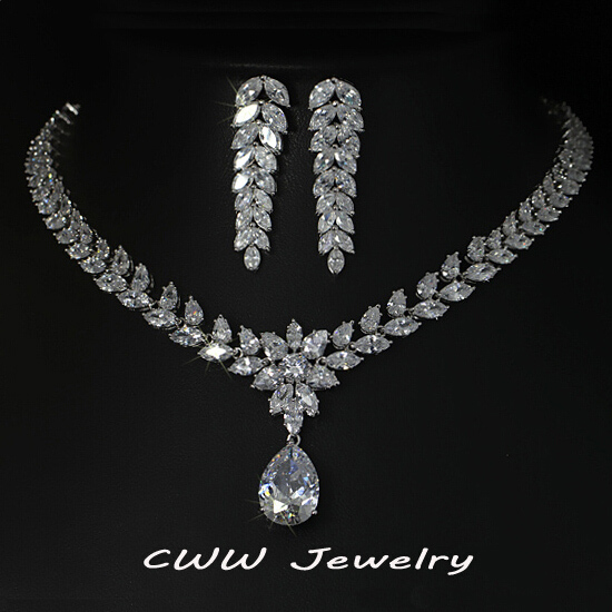 cwwzircons luxury bridal costume jewelry big teardrop zirconia necklace and earrings set for women wedding decoration