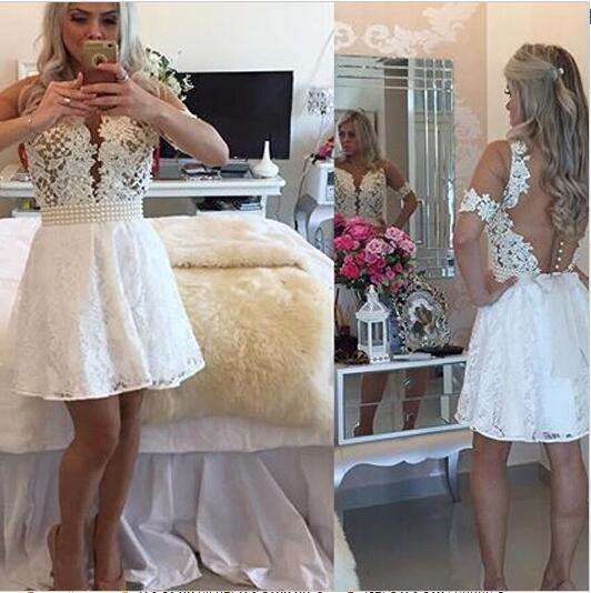 bd8c7faca Blanco corto de fiesta vestidos manga corta pura encaje con aplicaciones  rodilla longitud vestido de graduación
