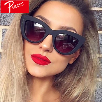 Psacss Vintage Cat Eye Sunglasses Women Black Luxury Brand Designer High Quality Retro Sun Glasses Female Fashion Mirror Shades