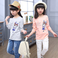 2017 Spring Autumn Children Cotton T-shirt For Girl Character Rabbit Pattern Kid Clothes Solid O-neck Baby Girl Top Tees