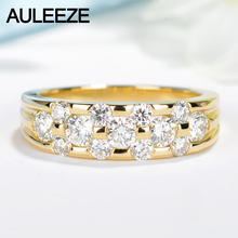 AULEEZE Unique 1CTTW White Real Diamond Rings For Women Au750 18k Yellow Gold Natural Diamond Wedding Engagement Ring Band