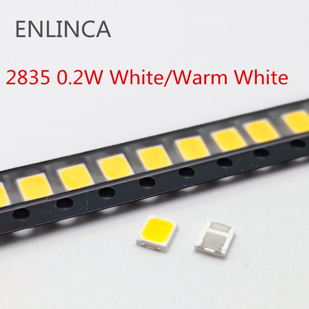 100pcs 0.2W SMD 2835 LED Lamp Bead 20-25lm White Nature Cool Warm White SMD LED Beads Chip 3.0-3.6V for All Kinds of LED Light100pcs 0.2W SMD 2835 LED Lamp Bead 20-25lm White Nature Cool Warm White SMD LED Beads Chip 3.0-3.6V for All Kinds of LED Light