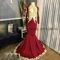 Gold Lace Applique Prom Dresses Long Sleeve High Neck Cut out Burgundy Mermaid Long Prom Dress 2020 Formal Gown Vestidos de gala