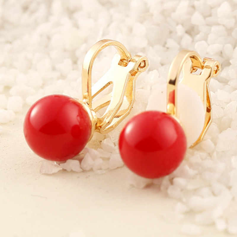 2019 New Red Imitation Pearl earrings fashion jewelry female exquisite elegant white imitated pearl Ear clip gift wedding party