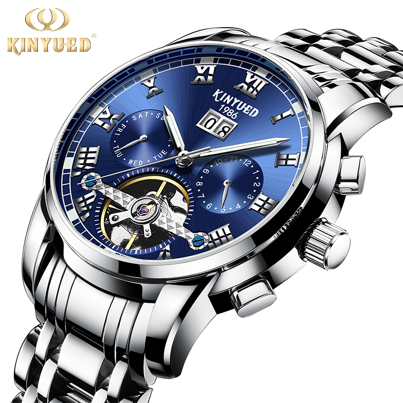 Kinyued Top Luxury Brand Mechanical Watches Men Automatic Winding Wrist Watch Male Steel Sapphire Calendar Relogio Masculino Kinyued Top Luxury Brand Mechanical Watches Men Automatic Winding Wrist Watch Male Steel Sapphire Calendar Relogio Masculino
