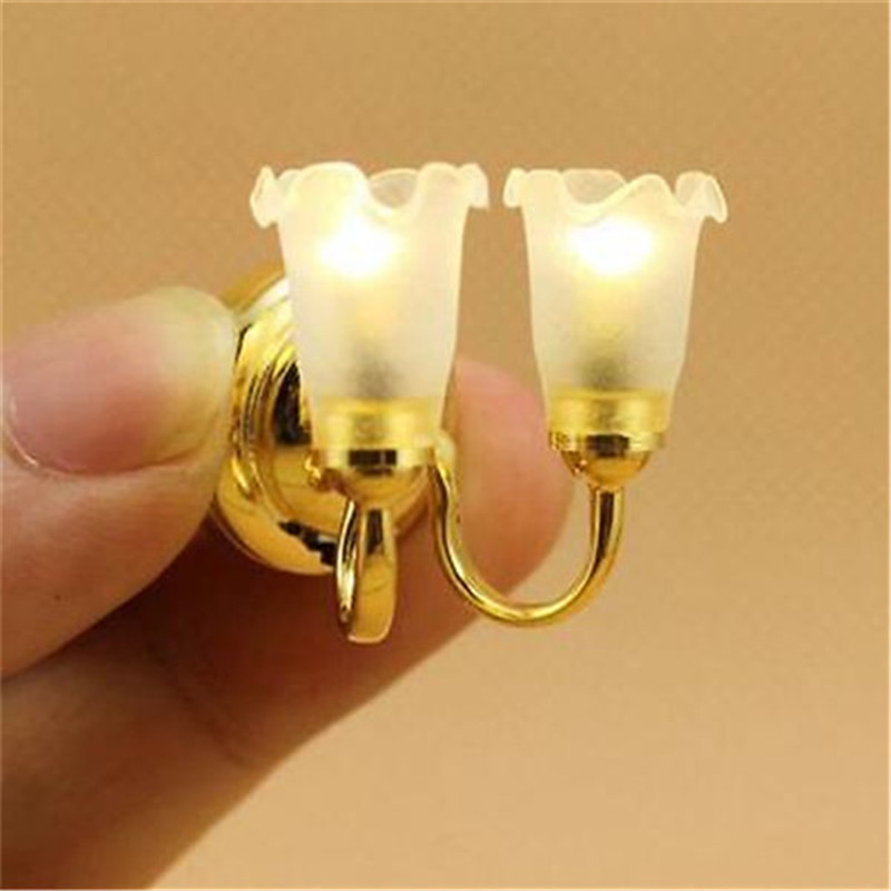 EatingBiting(R) 1:12 Dollhouse Miniature Working Wall Lighting Double Lamp White Flower Shade