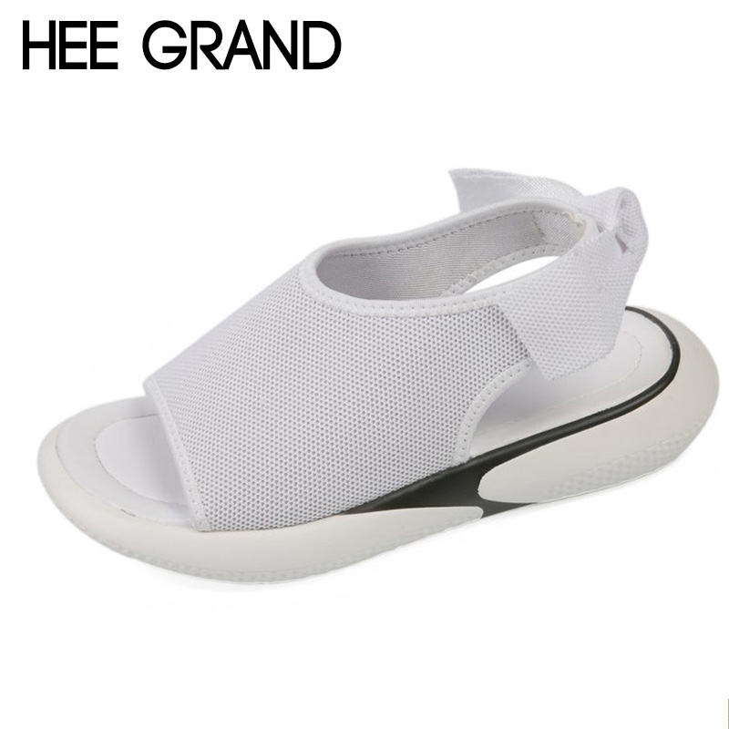 HEE GRAND 2018 New Summer Flats Thong Canvas Sandals Woman Causal Flat With Flip Flops Peep Toe Strap Mujer Shoes XWZ4995