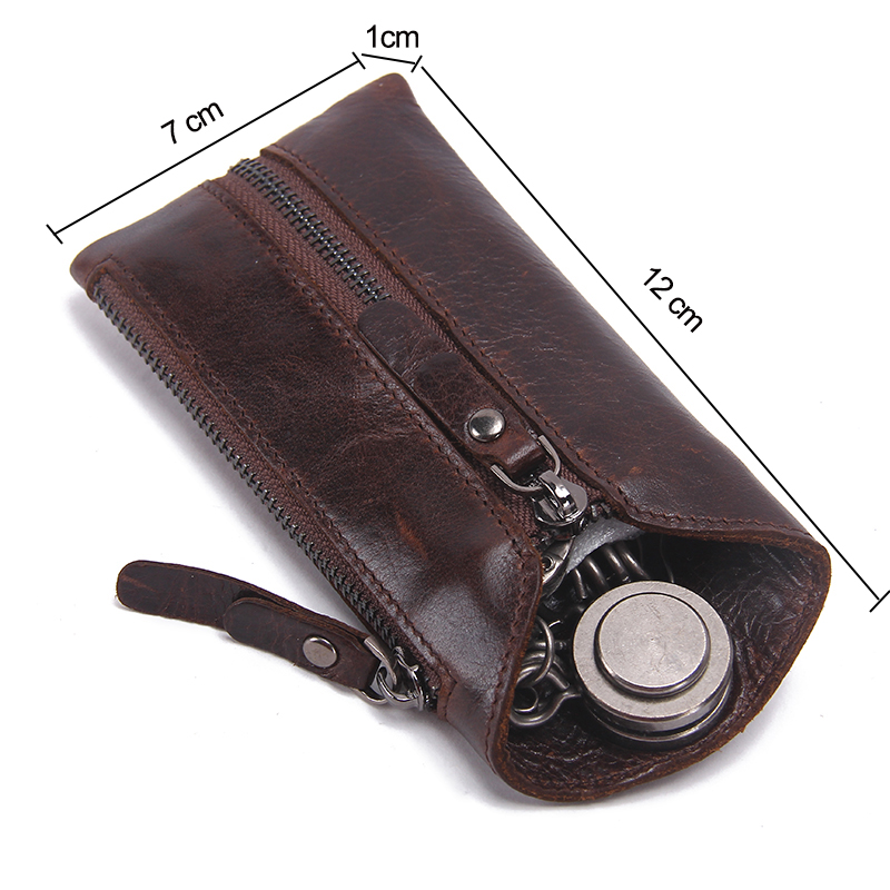 CONTACT'S Vintage Genuine Leather Key Wallet Women Keychain Covers Zipper Key Case Bag Men Key Holder Housekeeper Keys Organizer 3