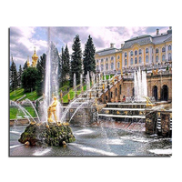 Palace fountain 50X40 Wholesale DIY Diamond Painting Home Decoration Rhinestone Wall Stickers Embroidery Needlework