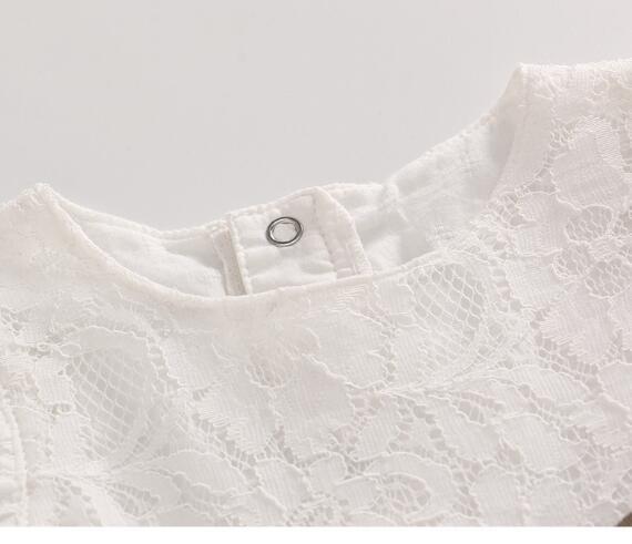 Baby 1st Birthday Dress Koronkowa księżniczka Party Białe sukienki - Odzież dla niemowląt - Zdjęcie 2