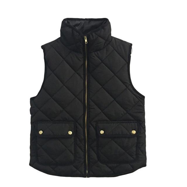 Chic Autumn Winter Basic Vest Jacket Coat Quilt Slim Black Women Top Ladies Girls Sleeveless Casual Cotton Zipper Outfit Fashion