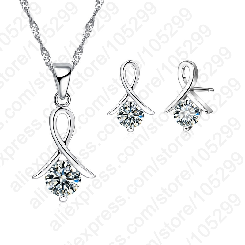 JEXXI New Fashion Set For Women Cross CZ 925 Sterling Silver Pendant Necklace & Stud Earrings With Free shipping