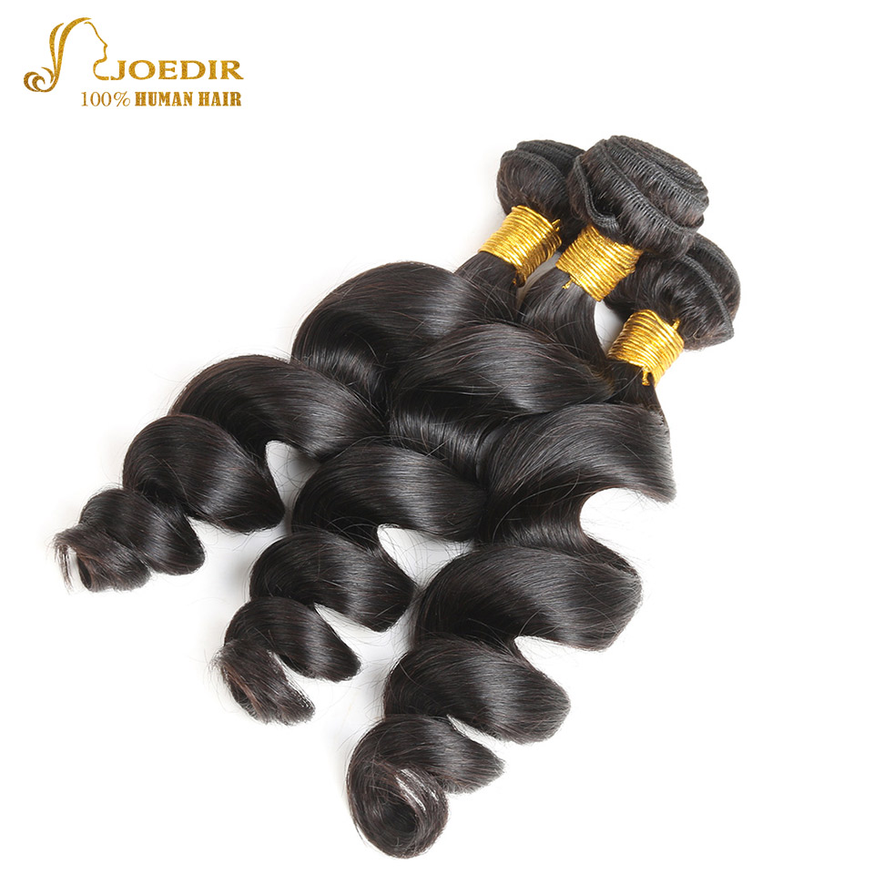 Joedir Hair Store Indian Loose Wave Hair 3 Bundles 100% Human Hair Extensions Natural Hair Weave Bundles 10-26 Inch Non Remy