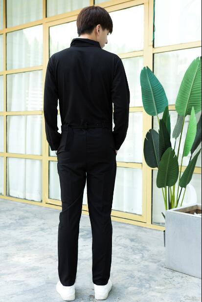 Pantalones Con Mono Hombre Los Multi Una Negro bolsillo Hombres Pieza Capucha De Manga Otoño Larga Casual Hip Sola Hop Pies w4wq5TY