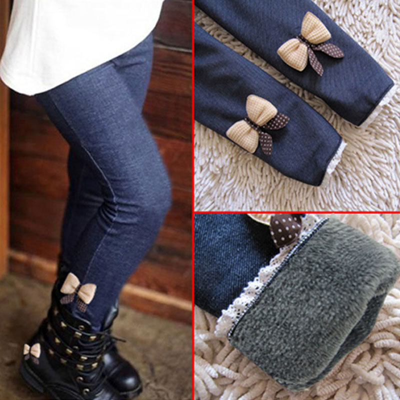 2019 Thick Warm Winter Spring Jean Pants Bow Girls Leggings Kids Trousers Children  Icing Leggings