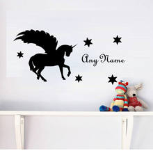 Personalized Name Horse With Wings Kids Bedroom Decoration Beauty Cute Wall Sticker Vinyl Art Home Decor Boys Girl Stickers W558(China)
