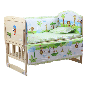 90*50cm 5pcs/set Baby Bed Bumpers Pure Cotton Infant Bedding Set Newborn Cartoon Printed Crib Protector for Toddler