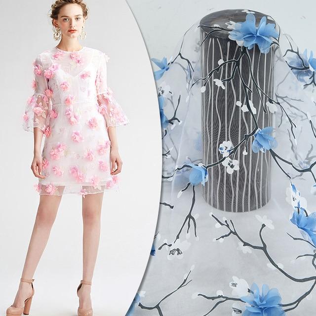 Organza Kain Kecil Floral 3D Set Bordir Kain Kain Pakaian wanita Memakai  Gaun Biru Pernikahan Disesuaikan b33e5f65e7
