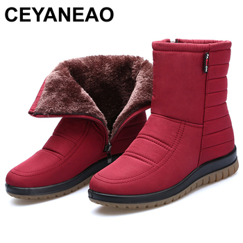 CEYANEAOWinter Women Snow Boots Ladies Waterproof Warm Ankle Wedges Platform Plush Shoes female Botas Mujer Zapatos E765 - discount item  48% OFF Women's Shoes