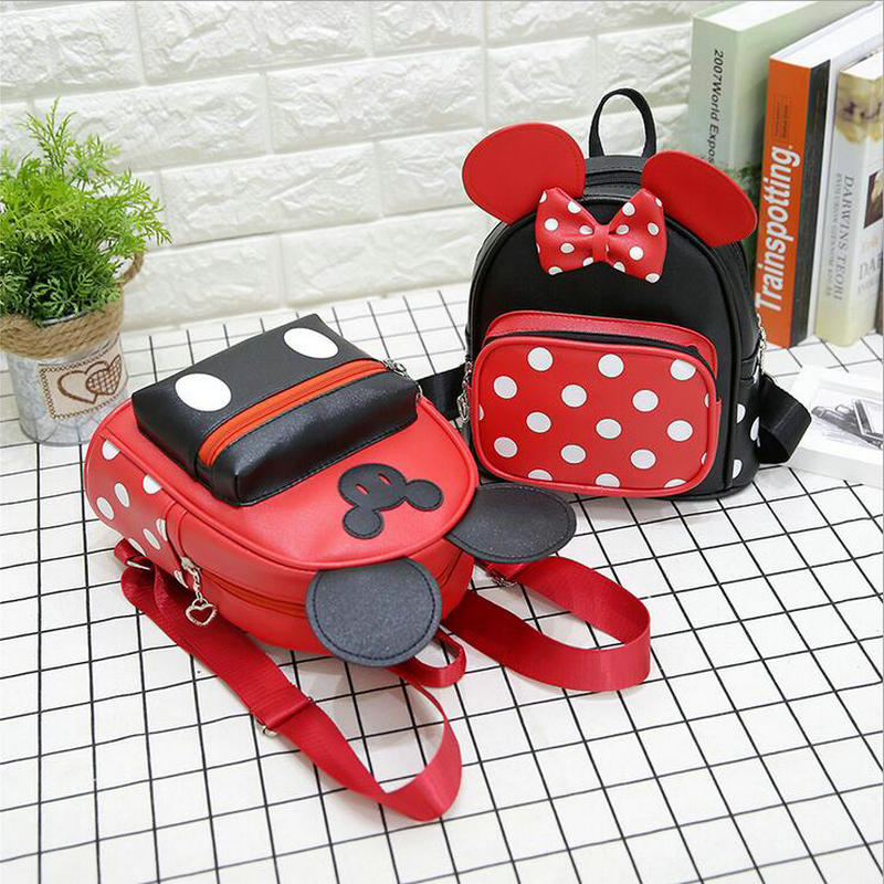New Arrivals Children Fashion School Bags For Girls Cartoon Minnie PU Leather Mini Backpack Kids Girls Casual Bags Cute Bag new children cartoon bags cute elephant mini handbag for girls boys pure cotton animals kids baby bags handmade a limited