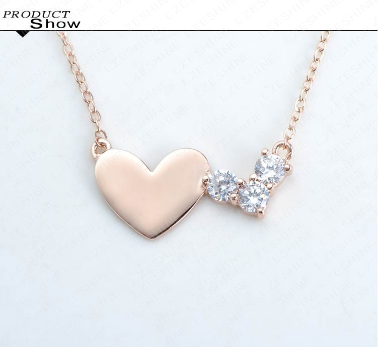 LZESHINE Simple Fashion Heart Necklace Real Rose Gold Plated Crystal ...