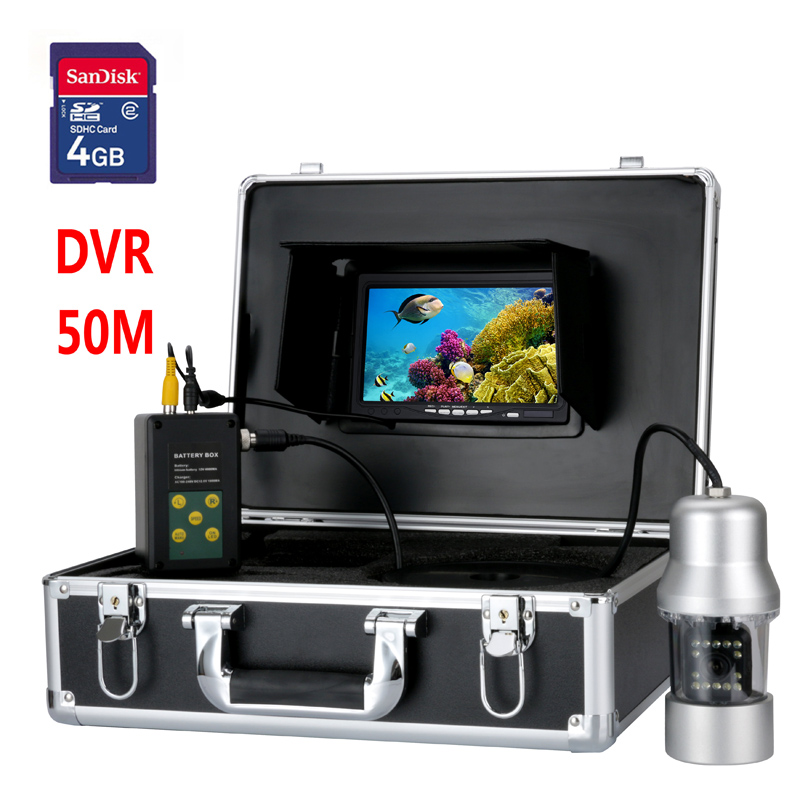 50M 7 TFT DVR Recorder Underwater Video Fishing Camera System 360 Degree Remote Control Lake Fishing Underwater Exploration 4GB 360 degree rotaton under water 50m dvr fishing camera av handheld endoscope