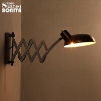 Americande rual Loft retro lâmpada de parede de Cabeceira de Ferro Industrial lâmpada de parede arandelas lâmpadas braço Mecânico Elástico do vintage