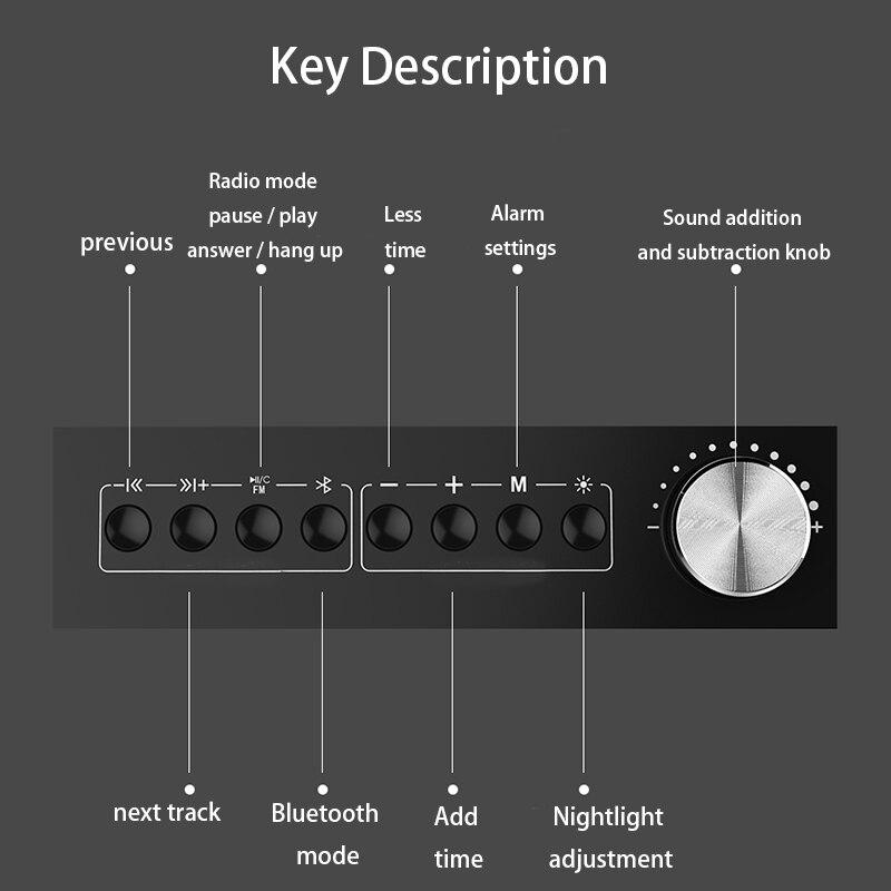 Réveil numérique LCD alarme Audio téléphone Mobile Radio Bluetooth 4.2 haut parleur intelligent alarme bureau horloge fiche carte invite vocale - 2