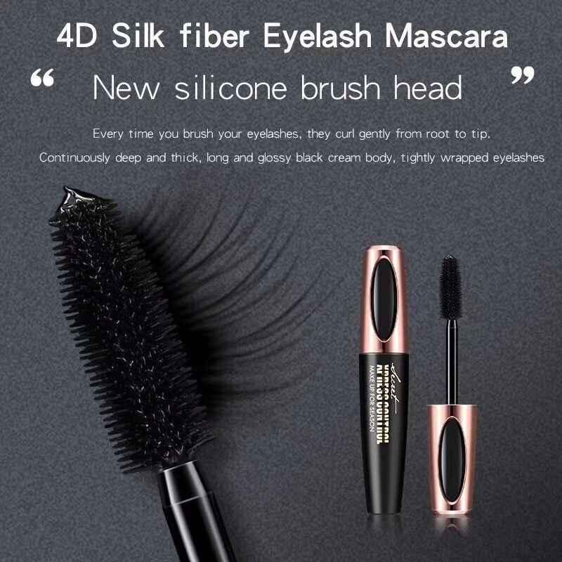 d720fc109a2 ... Beauty 4D Silk Fiber Eyelash Mascara Thick Long Curling Black Mascara  Waterproof Eye Lashes Makeup 3D ...