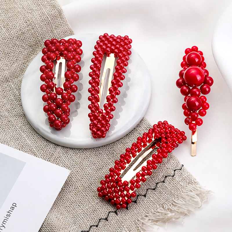 New Lucky Red Pearl Full Cover Hairpin Women Girls Sweet Hair Clip Barrettes Headband BB Clip Fashion Hair Accessories