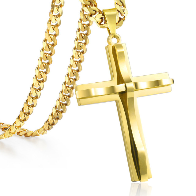 80a0cbe3363c2 US $6.19 38% OFF|Davieslee Mens Chain Curved Cross Pendant Necklace  Stainless Steel Curb Cuban Link Black Gold Silver Tone 18 36inch LKPM137-in  Chain ...