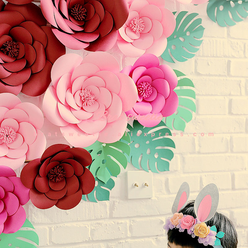 2018 Diy Large Rose Giant Paper Flowers For Wedding Backdrops