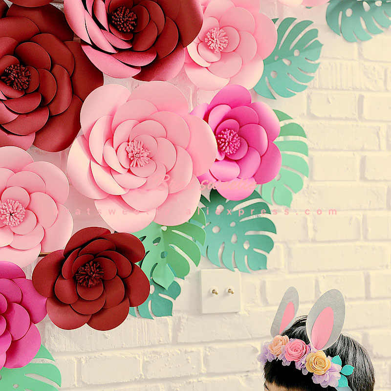 Diy Large Rose Giant Paper Flowers For Wedding Backdrops Decorations Paper Crafts Baby Nursery Birthday Video Tutorials