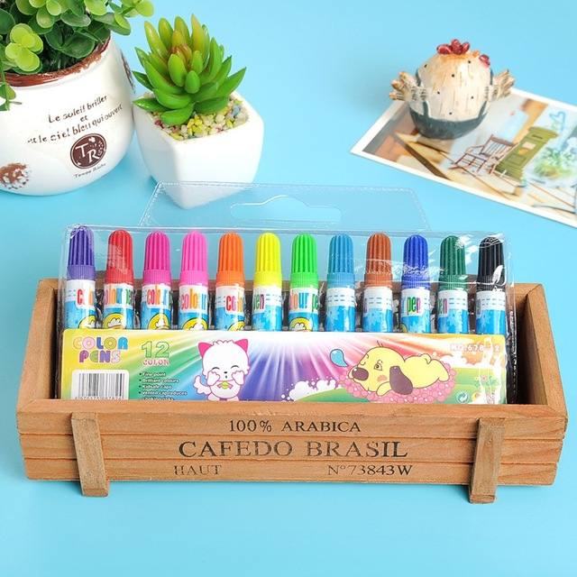 Juguetes de estudiantes lavables lápiz de acuarela 12 colores embalaje lindo bebé niño regalo aprendizaje y educación dibujo Juguetes