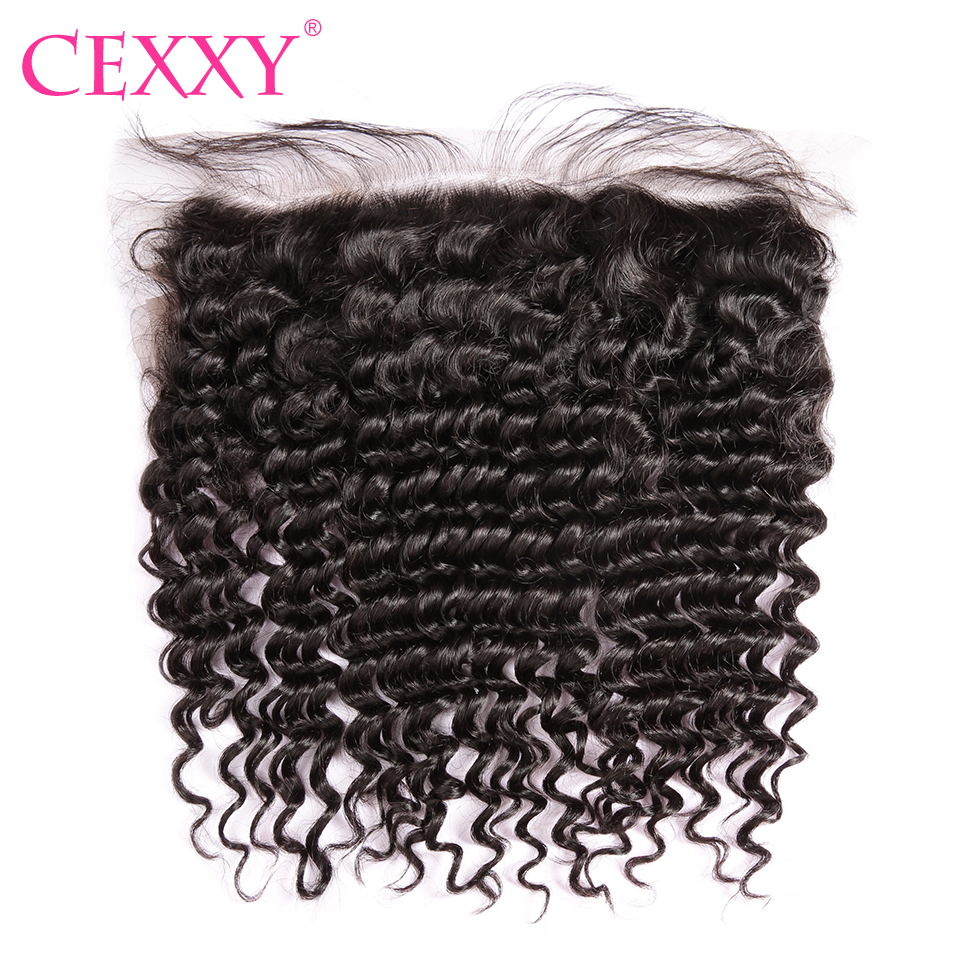 CEXXY Lace Frontal Closure Brazilian Remy Hair Deep Wave 13 4 Plucked Natural Hairline Baby Hair
