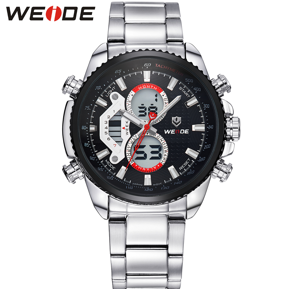 ФОТО WEIDE Brand Men Full Steel Watch Multi-Functional Analog Digital Alarm Stop Watch Display 30m Waterproof Sports Dive Sale Items