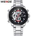 WEIDE Brand Men Full Steel Watch Multi-Functional Analog Digital Alarm Stop Watch Display 30m Waterproof Sports Dive Sale Items