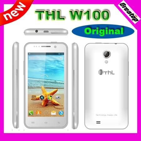 Original THL W100 Quad Core Mobile MTK6589 Android 4.2 1GB RAM+4GB 4.5inch QHD +2Batteries +Flip case+screen guard SG free ship